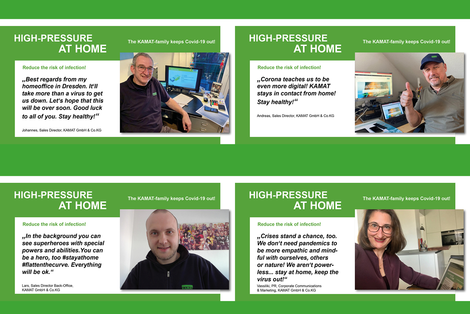 KAMAT at home campaign - regards from the home offices, a collage of four messages by employees