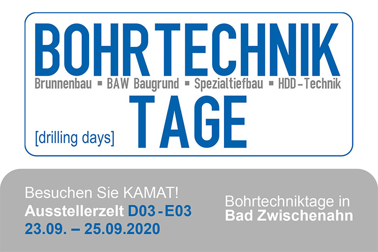 Logo of the Bohrtechniktage (drilling days) 2020 trade fair with details on date, location and stand of the company KAMAT
